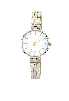 Anne Klein Two-Tone Bangle Bracelet Watch with Crystals