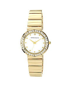 Anne Klein Gold Tone Bracelet With Crystal Bezel