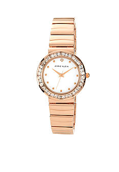 Anne Klein Rose Gold Tone Bracelet with Crystal Bezel