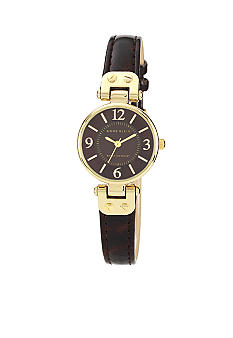 Anne Klein Gold Tone and Rich Brown Leather Strap Watch