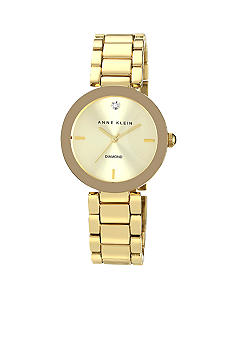 Anne Klein Gold Tone Bracelet with a Diamond Dial