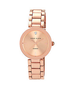 Anne Klein Women's Rose Gold Tone Diamond Dial Watch