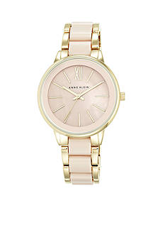 Anne Klein Women's Blush Center Link Gold-Tone Watch