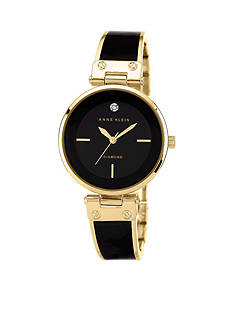 Anne Klein Women's Diamond Dial Watch with Black/Gold Tone Bangle