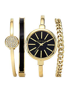 Anne Klein Women's Box Set with Gold tone Watch and Three Stackable Bracelets