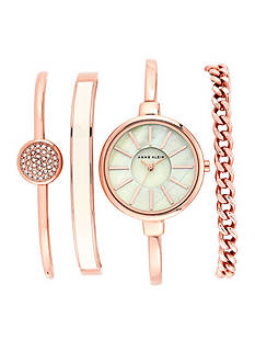 Anne Klein Rose Gold Watch and 3 Stackable Bracelets Set