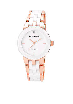 Anne Klein White and Rose Gold Tone Diamond Ceramic Watch