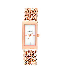 Anne Klein Rose Gold Tone Rectangular Double Link Bracelet Watch