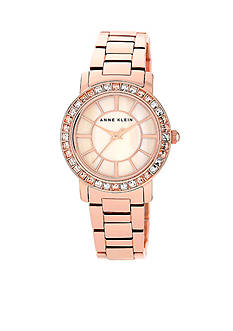 Anne Klein Rose Gold Tone Round Crystal Bezel Watch