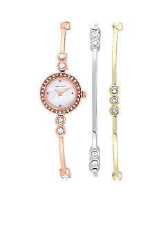 Anne Klein Rose Gold Tone Watch and 2 Stackable Bracelets Set