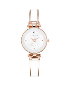 Anne Klein Women's White Diamond Bangle Watch