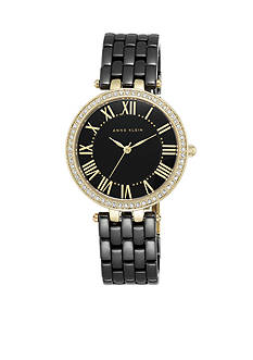 Anne Klein Women's Black Ceramic with Crystal Bezel Watch