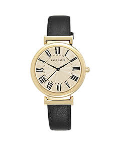 Anne Klein Women's Navy Leather Roman Numeral Dial Watch