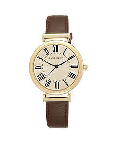 Anne Klein Women's Brown Leather Roman Numeral Dial Watch