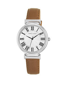 Anne Klein Tan Leather Strap Watch with Roman Numerals