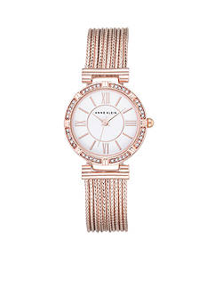 Anne Klein Women's Crystal Bezel Rose Gold-Tone Chain Bracelet Watch