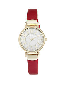 Anne Klein Women's Gold-Tone Easy Read Red Leather Watch