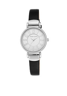 Anne Klein Women's Silver-Tone Easy Read Black Leather Watch