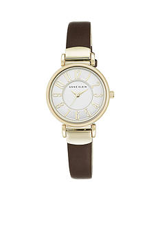 Anne Klein Women's Gold-Tone Easy Read Brown Leather Watch
