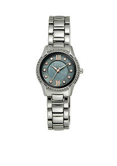 Anne Klein Women's Crystal Bezel Gunmetal Watch