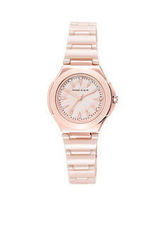Anne Klein Women's Rose Gold Plated Blush Ceramic Watch