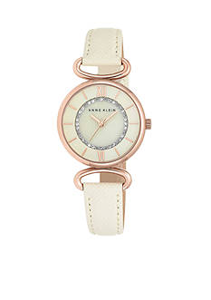 Anne Klein Women's Rose-Gold Plated with Ivory Strap Watch