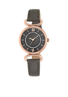 Anne Klein Women's Rose-Gold Dark Taupe Leather Watch