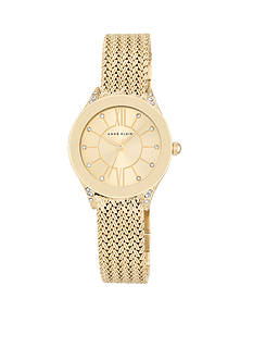 Anne Klein Women's Gold-Tone Crystal Mesh Bracelet Watch