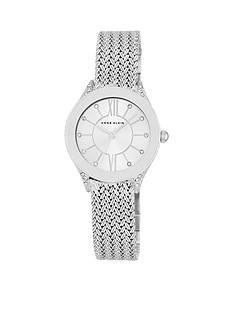 Anne Klein Women's Silver-Tone Crystal Mesh Bracelet Watch