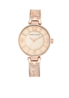 Anne Klein Women's Blush Marbleized Rose Gold Bangle Watch