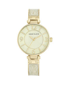 Anne Klein Women's Ivory Marbleized Bangle Watch