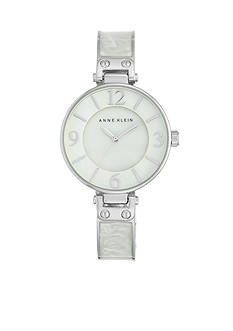 Anne Klein Women's White Marbleized Silver-Tone Bangle Watch