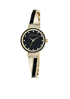 Anne Klein Women's Black and Gold-Tone Crystal Bangle Watch