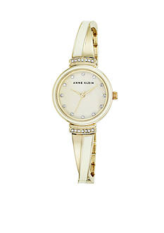 Anne Klein Ivory and Gold-Tone Crystal Bangle Watch
