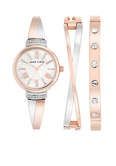 Anne Klein 3-Piece Rose Gold-Tone Crystal Box Set