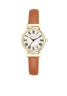 Anne Klein Women's Gold-Tone Honey Leather Watch