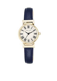 Anne Klein Women's Gold-Tone Navy Leather Watch