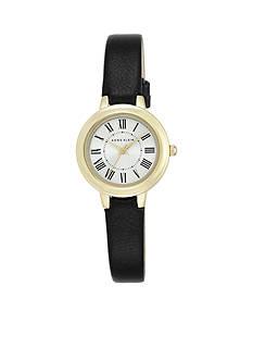 Anne Klein Ladies Gold-Tone Black Strap Watch