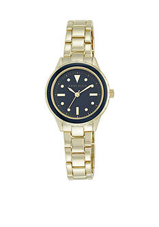 Anne Klein Women's Navy Dial Gold-Tone Bracelet Watch
