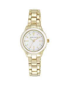 Anne Klein Women's White Bezel Gold-Tone Bracelet Watch