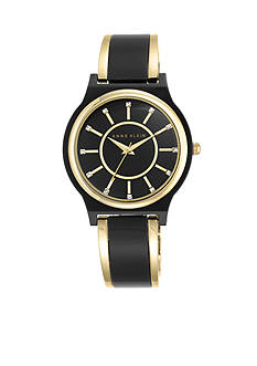 Anne Klein Women's Black and Gold-tone Bangle Watch
