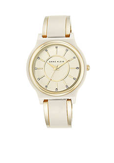 Anne Klein Women's Ivory/Gold Bangle Watch