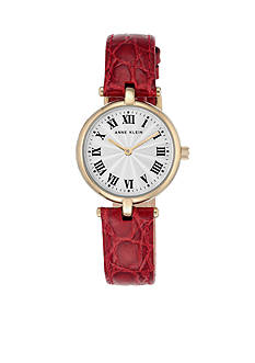 Anne Klein Women's Gold-Tone Red Leather Watch