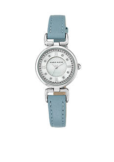 Anne Klein Women's Blue Leather with Crystal Accents Watch