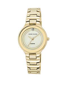 Anne Klein Women's Gold-Tone Diamond Dial Watch