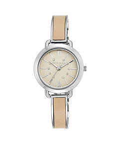 Anne Klein Women's Silver-Tone Tan Leather Bangle Watch