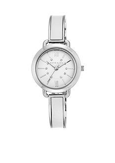 Anne Klein Women's Silver-Tone White Leather Bangle Watch