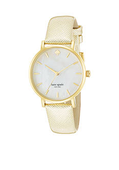 kate spade new york® Gold Saffiano Metro Watch
