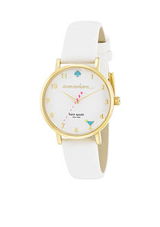 kate spade new york Women's Gold-Tone Stainless Steel White Leather Novelty Metro Three-Hand Watch