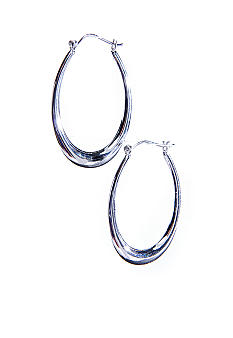Belk Silverworks A Large Oval Polished Hoop with a Snap Top Post  in Silver 100
